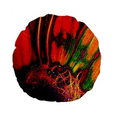 Abstract Of An Orange Gerbera Daisy 15  Premium Flano Round Cushion