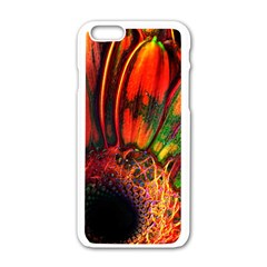 Abstract Of An Orange Gerbera Daisy Apple Iphone 6 White Enamel Case
