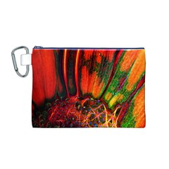 Abstract of an Orange Gerbera Daisy Canvas Cosmetic Bag (Medium)