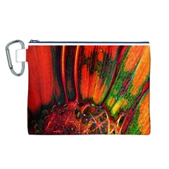 Abstract of an Orange Gerbera Daisy Canvas Cosmetic Bag (Large)