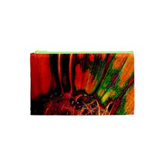 Abstract of an Orange Gerbera Daisy Cosmetic Bag (XS)