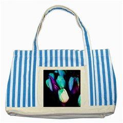 Abstract Purple Tulips Blue Striped Tote Bag