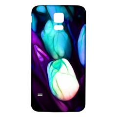 Abstract Purple Tulips Samsung Galaxy S5 Back Case (White)