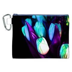 Abstract Purple Tulips Canvas Cosmetic Bag (XXL)