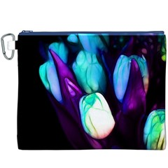 Abstract Purple Tulips Canvas Cosmetic Bag (xxxl)
