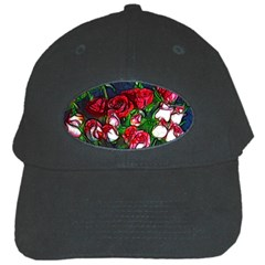 Abstract Red And White Roses Bouquet Black Baseball Cap