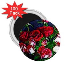 Abstract Red And White Roses Bouquet 2 25  Button Magnet (100 Pack)