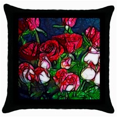 Abstract Red And White Roses Bouquet Black Throw Pillow Case