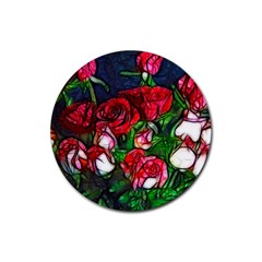 Abstract Red And White Roses Bouquet Drink Coaster (round)