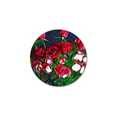 Abstract Red And White Roses Bouquet Golf Ball Marker