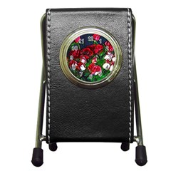 Abstract Red And White Roses Bouquet Stationery Holder Clock