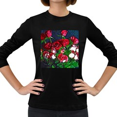 Abstract Red And White Roses Bouquet Women s Long Sleeve T Shirt (dark Colored)