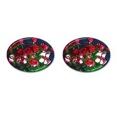 Abstract Red And White Roses Bouquet Cufflinks (oval)