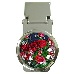 Abstract Red And White Roses Bouquet Money Clip With Watch
