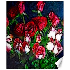 Abstract Red And White Roses Bouquet Canvas 20  X 24  (unframed)