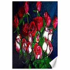 Abstract Red And White Roses Bouquet Canvas 24  X 36  (unframed)