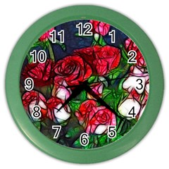 Abstract Red And White Roses Bouquet Wall Clock (color)