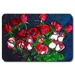 Abstract Red And White Roses Bouquet Large Door Mat