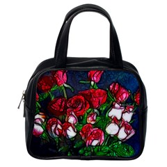 Abstract Red And White Roses Bouquet Classic Handbag (one Side)