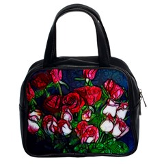Abstract Red And White Roses Bouquet Classic Handbag (two Sides)