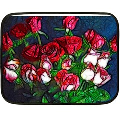 Abstract Red And White Roses Bouquet Mini Fleece Blanket (two Sided)
