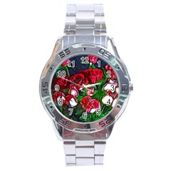 Abstract Red And White Roses Bouquet Stainless Steel Watch