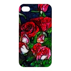 Abstract Red And White Roses Bouquet Apple Iphone 4/4s Premium Hardshell Case