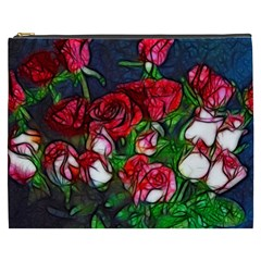 Abstract Red And White Roses Bouquet Cosmetic Bag (xxxl)