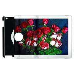Abstract Red and White Roses Bouquet Apple iPad 2 Flip 360 Case