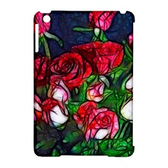 Abstract Red And White Roses Bouquet Apple Ipad Mini Hardshell Case (compatible With Smart Cover)