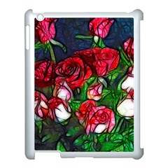 Abstract Red And White Roses Bouquet Apple Ipad 3/4 Case (white)