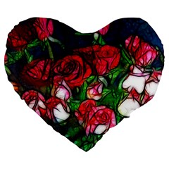 Abstract Red And White Roses Bouquet 19  Premium Heart Shape Cushion