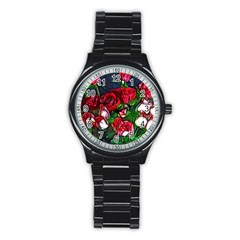 Abstract Red and White Roses Bouquet Sport Metal Watch (Black)