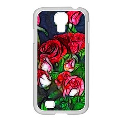 Abstract Red And White Roses Bouquet Samsung Galaxy S4 I9500/ I9505 Case (white)
