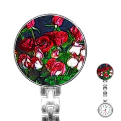 Abstract Red And White Roses Bouquet Stainless Steel Nurses Watch