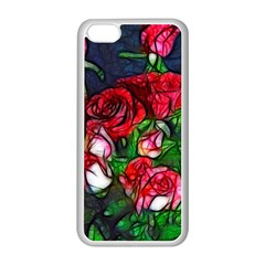 Abstract Red and White Roses Bouquet Apple iPhone 5C Seamless Case (White)