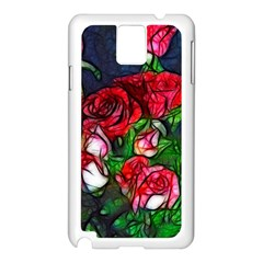 Abstract Red and White Roses Bouquet Samsung Galaxy Note 3 N9005 Case (White)