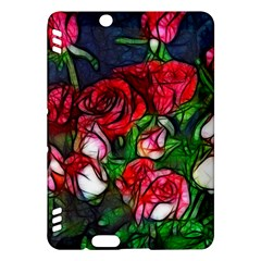 Abstract Red and White Roses Bouquet Kindle Fire HDX Hardshell Case
