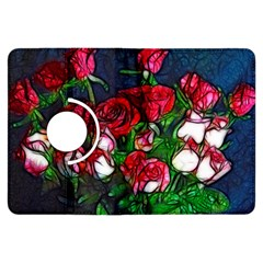 Abstract Red and White Roses Bouquet Kindle Fire HDX Flip 360 Case