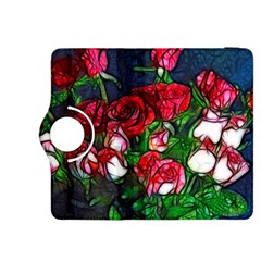 Abstract Red and White Roses Bouquet Kindle Fire HDX 8.9  Flip 360 Case