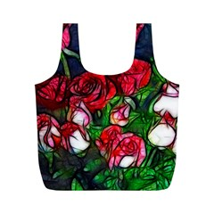 Abstract Red And White Roses Bouquet Reusable Bag (m)