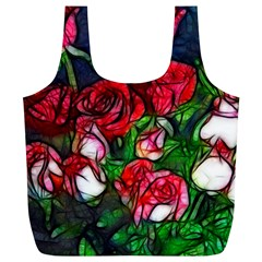 Abstract Red And White Roses Bouquet Reusable Bag (xl)