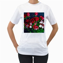 Abstract Red And White Roses Bouquet Women s T Shirt (white)