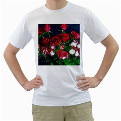 Abstract Red and White Roses Bouquet Men s T-Shirt (White)