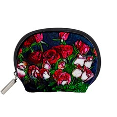 Abstract Red and White Roses Bouquet Accessory Pouch (Small)