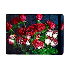 Abstract Red and White Roses Bouquet Apple iPad Mini 2 Flip Case
