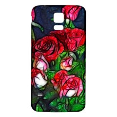 Abstract Red and White Roses Bouquet Samsung Galaxy S5 Back Case (White)