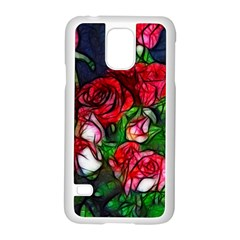 Abstract Red and White Roses Bouquet Samsung Galaxy S5 Case (White)