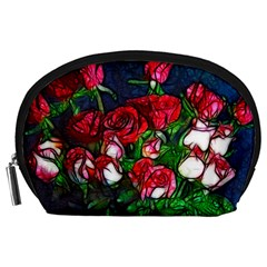 Abstract Red and White Roses Bouquet Accessory Pouch (Large)