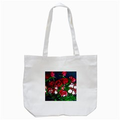 Abstract Red and White Roses Bouquet Tote Bag (White)